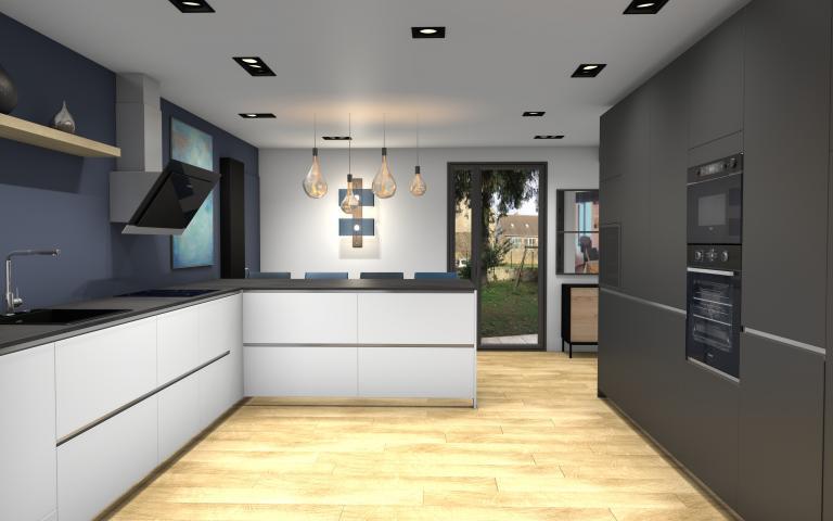 3D d'une cuisine moderne et chaleureuse Peggy Guezello 1001 idées