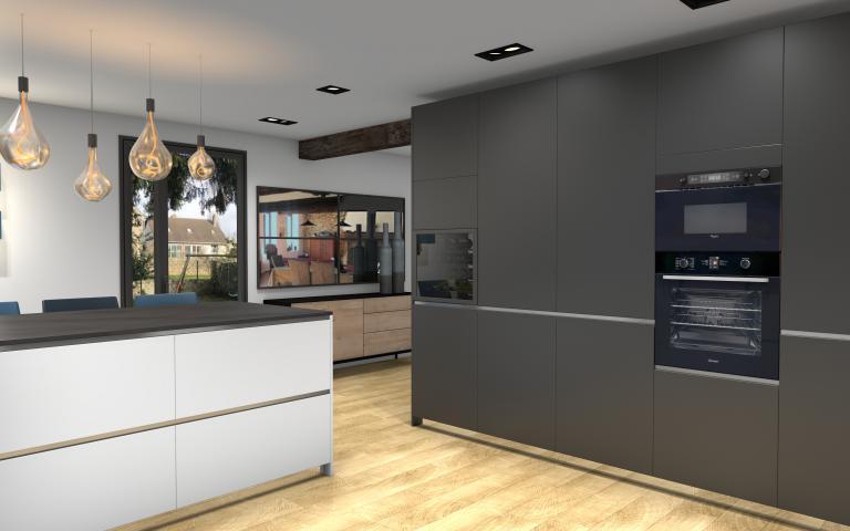 Colonnes foncées dans cuisine moderne Peggy Guezello 1001 idées