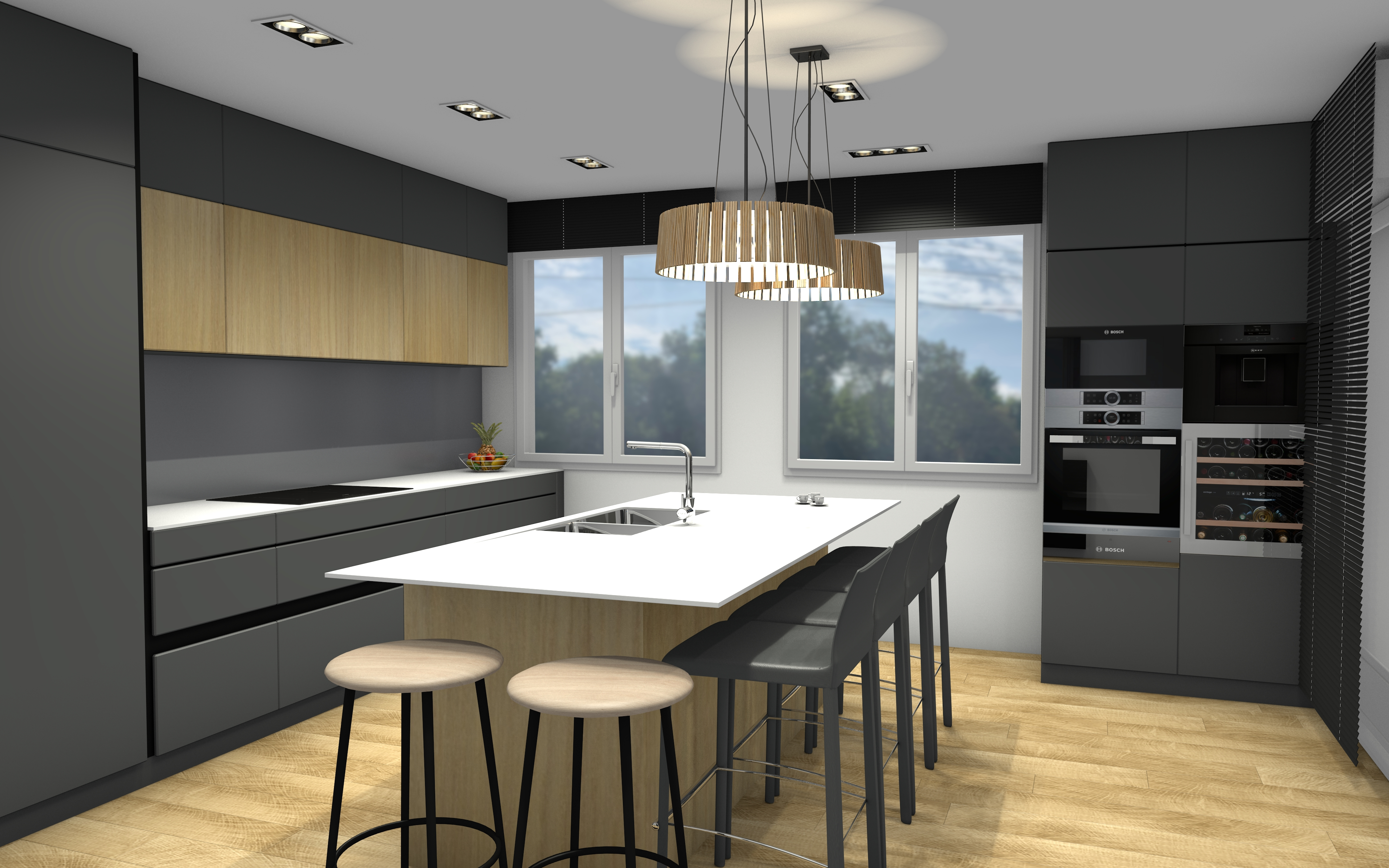 3D Transforamation entres, séjour, cuisine, chambre et salle de bains