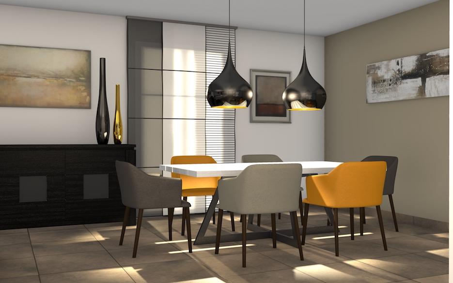 Salon, salle à manger moderne et chaleureuse à Plaisir dans ...