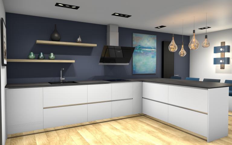 Etagère bois sur peinture bleue cuisine 1001 idées