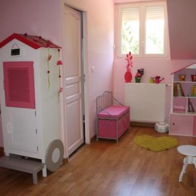 Chambre fille vert et rose