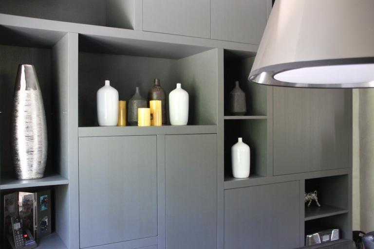 Meuble bois moderne et gris