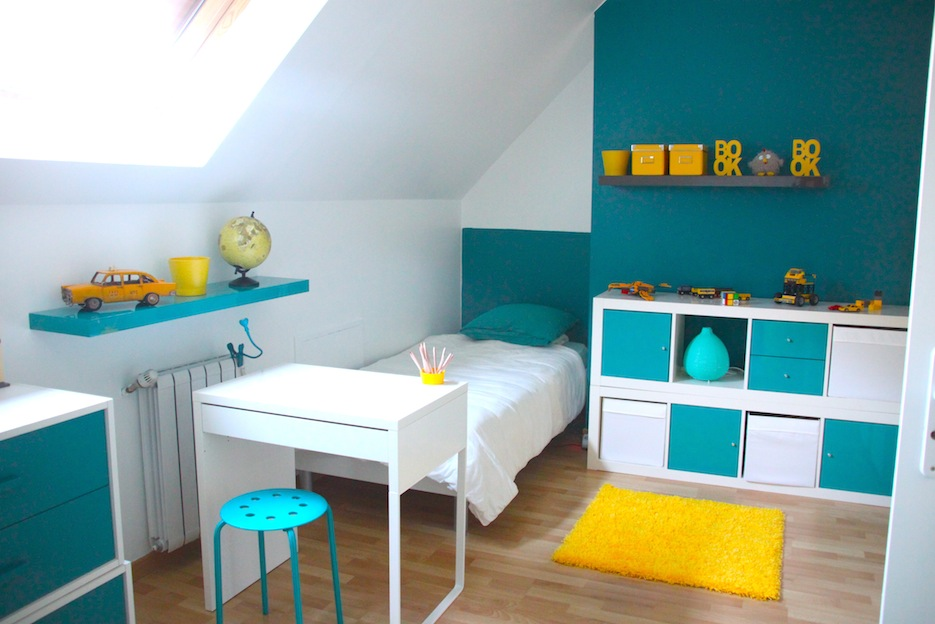 d co chambre enfant bleu et jaune. Black Bedroom Furniture Sets. Home Design Ideas