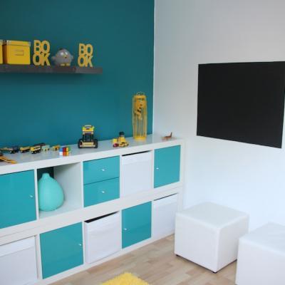 chambre d\'enfant jaune et bleu, chambre ikéa,