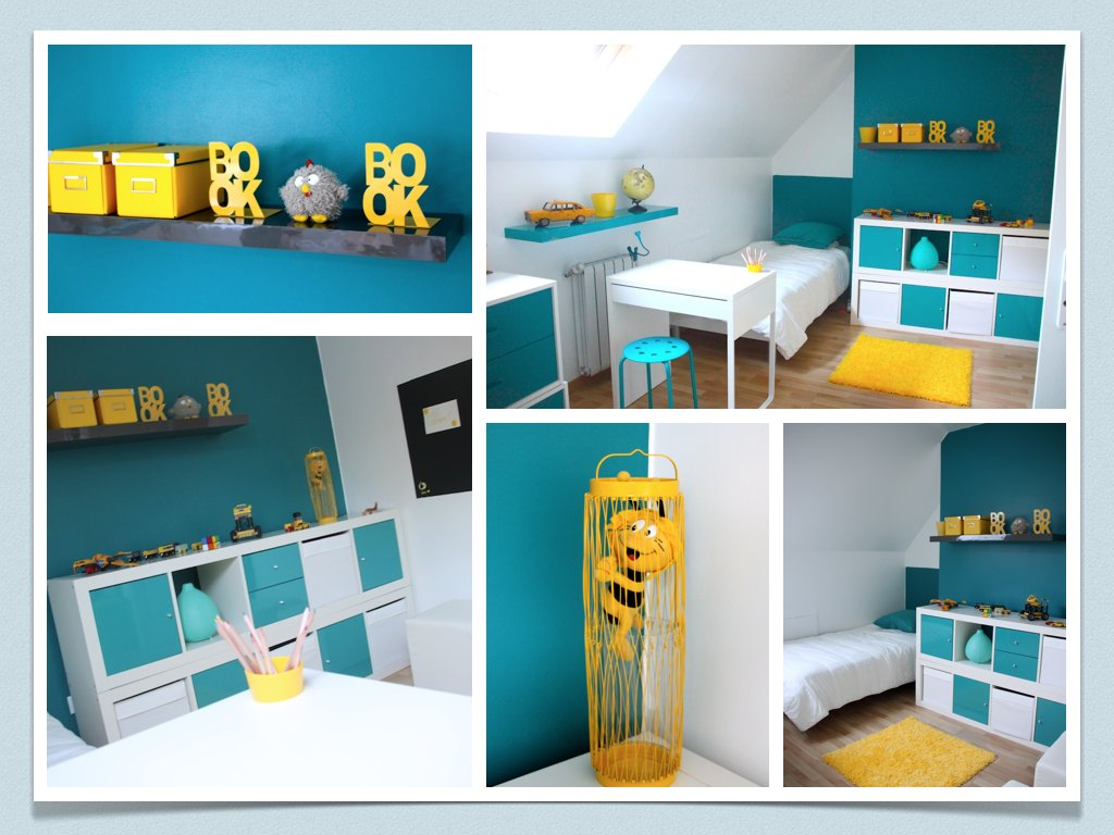 d coration chambre bleu et jaune. Black Bedroom Furniture Sets. Home Design Ideas