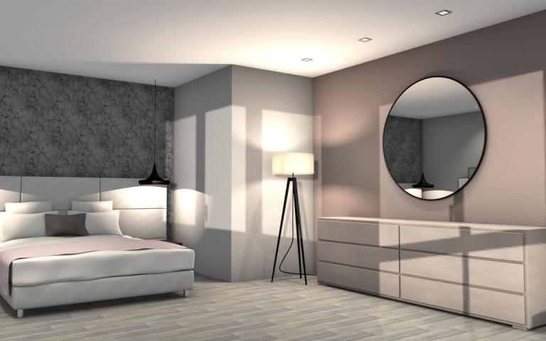 Chambre parents avec tête de lit en cuir blanc