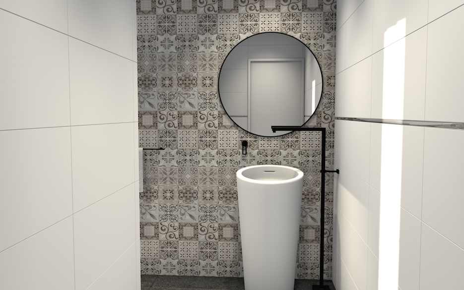 salle de bains design porcelanosa avec carreaux de ciment. Black Bedroom Furniture Sets. Home Design Ideas