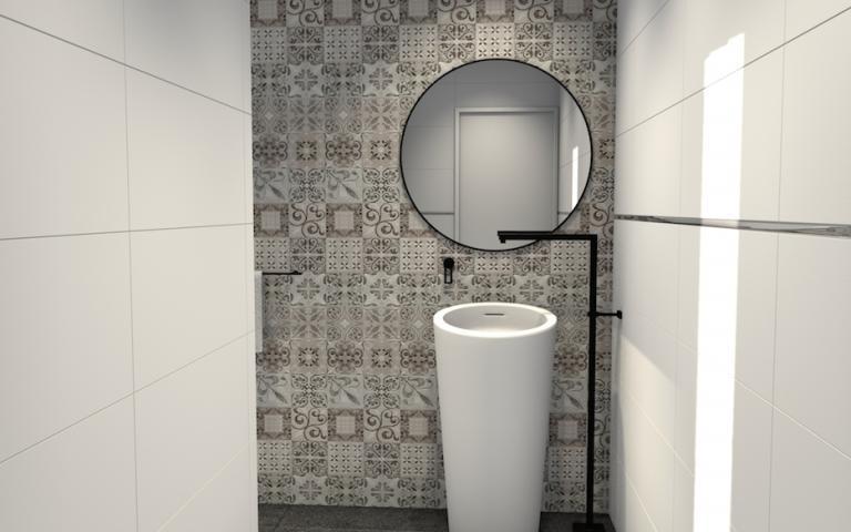 Salle de bains design Porcelanosa avec carreaux de ciment