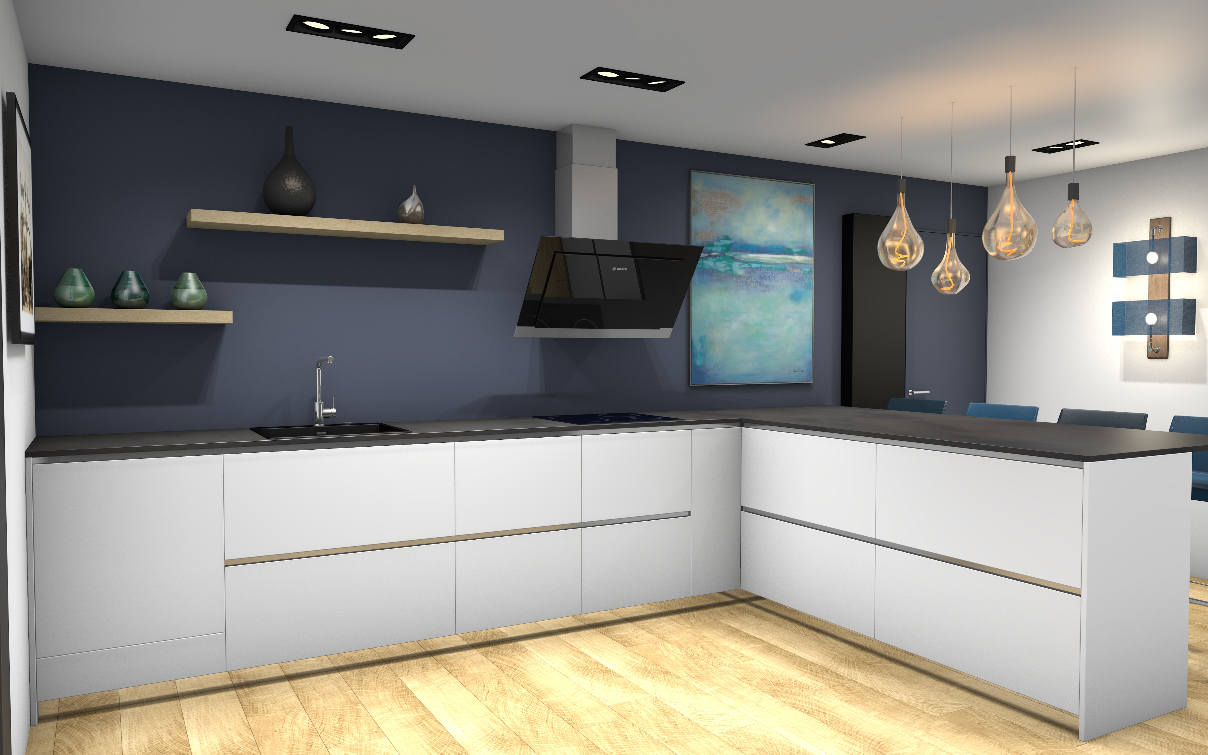 Peggy Guezello 1001 idées cuisine blanc bois et peinture bleue