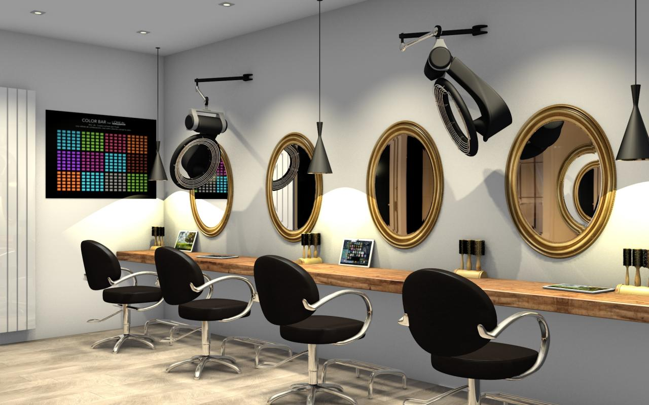 salon de coiffure chic et moderne zone technique. Black Bedroom Furniture Sets. Home Design Ideas