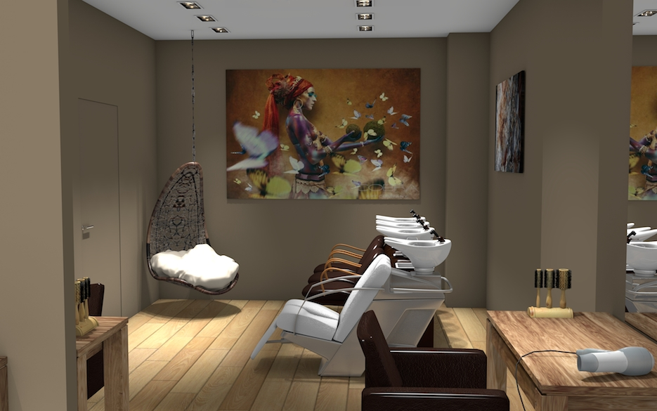 Idee deco salon de coiffure salon de coiffure luhomme et for Decoration salon de the