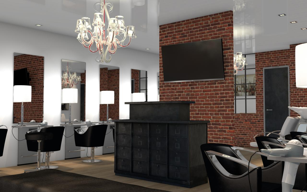 salon de coiffure style industriel. Black Bedroom Furniture Sets. Home Design Ideas