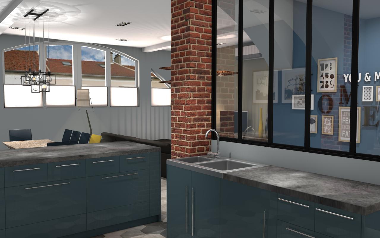 cuisine ouverte avec verri re et mur brique sur s jour. Black Bedroom Furniture Sets. Home Design Ideas