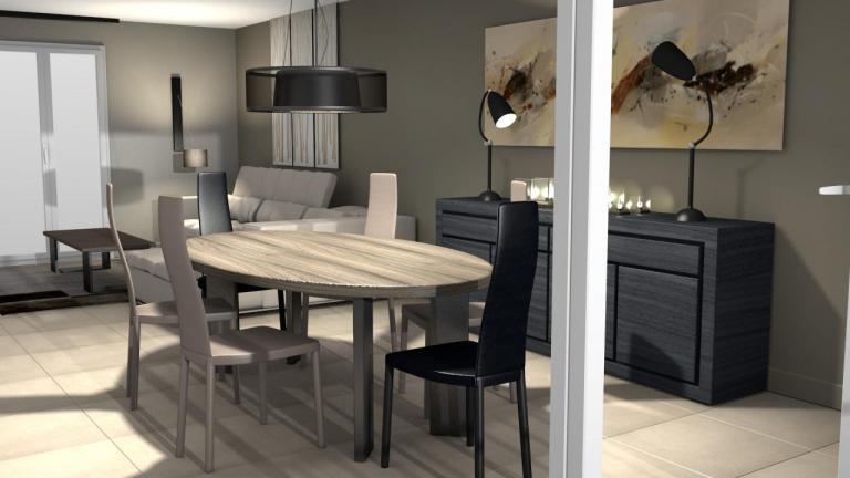 3D séjour: salon salle à manger moderne