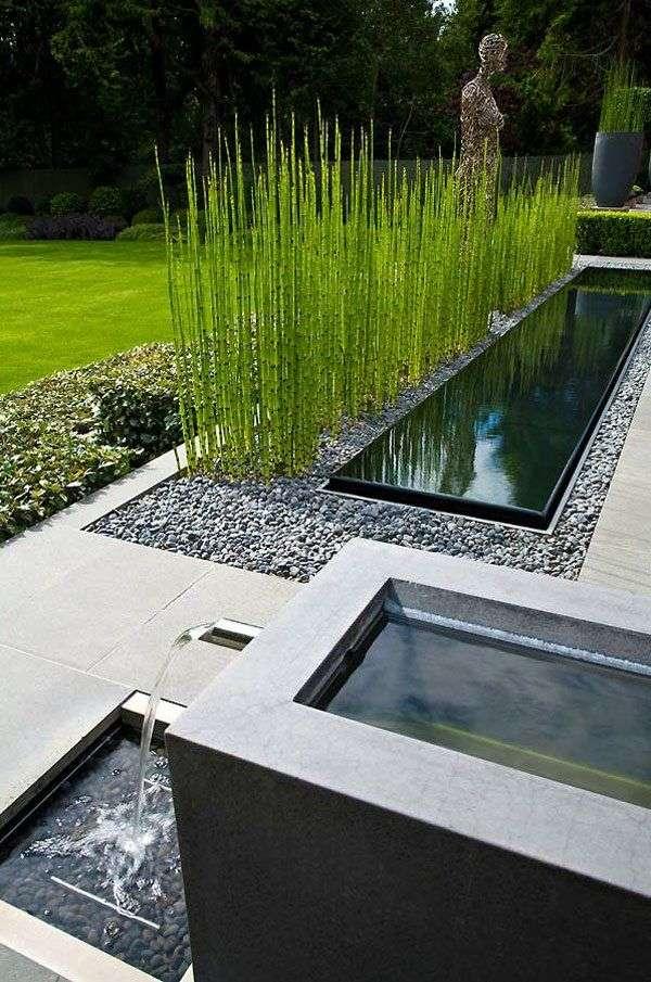 Amenagement jardin moderne e tang plantes gazon