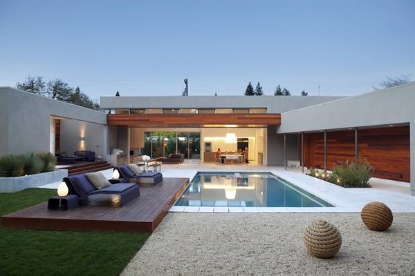 Contemprary patio inground pool wooden deck patio design ideas