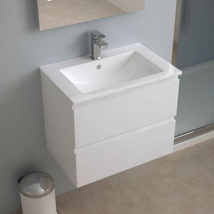 Meuble salle de bain 60 cm faible profondeur plan ceramique milo