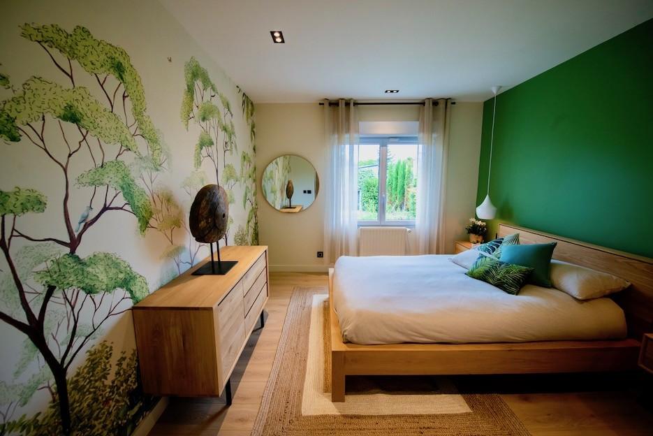 Chambre avec papier peint panoramique peggy guezello
