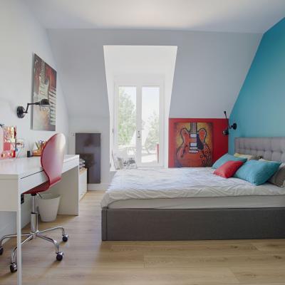 Chambre turquoise moderne par peggy Guezello