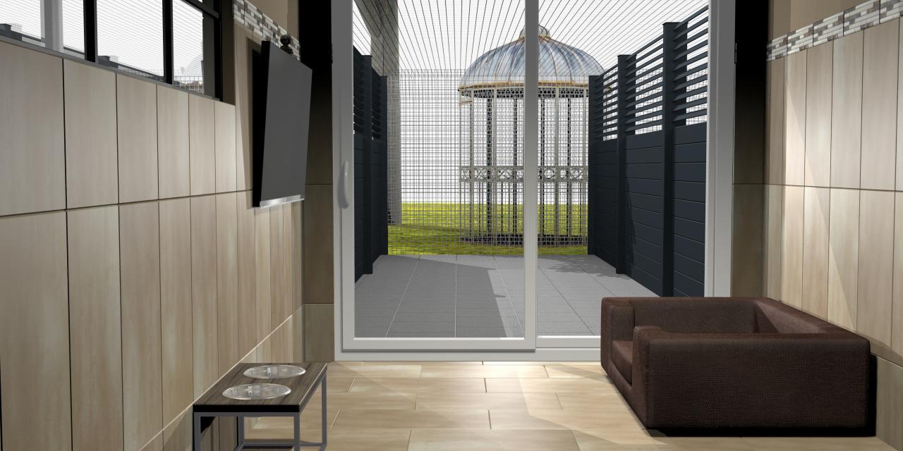 Aménagement intérieur et extérieur. Chambre pour chiens et chats