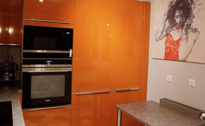 Cuisine orange sur mesure Peggy Guezello Peggy 1001 idées