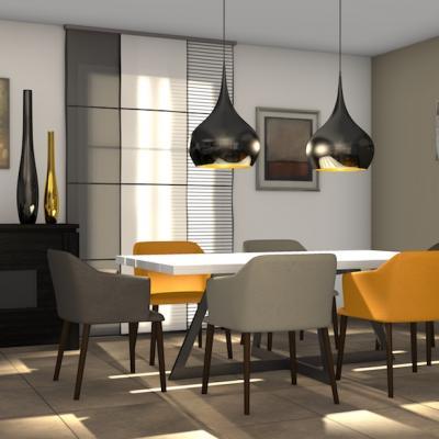 Salon, salle à manger moderne et chaleureuse à Plaisir dans le 78