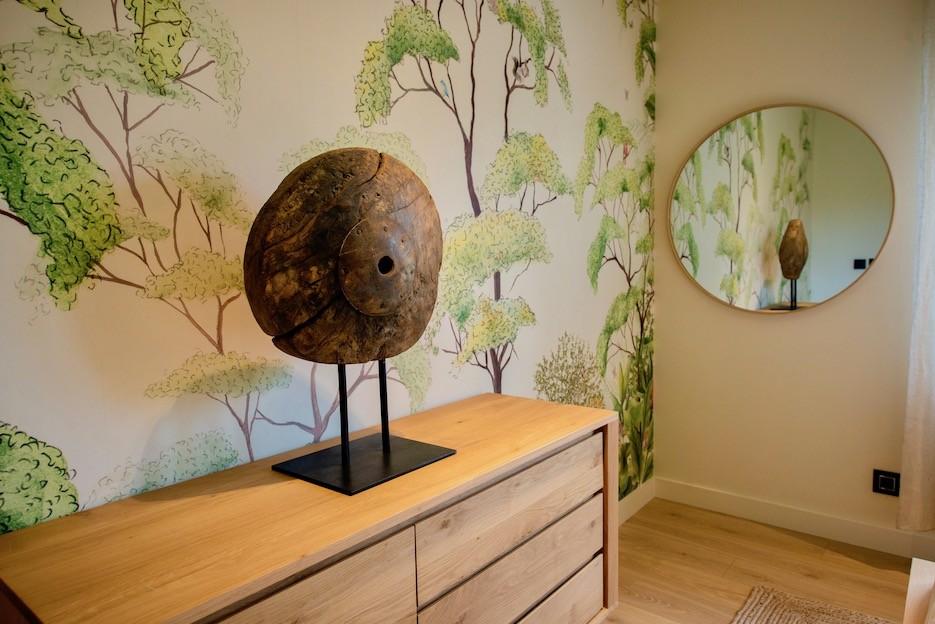 Papier peint nature panoramique avec miroir peggy guezello