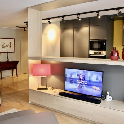 Peggy guezello meuble sur mesure tv dans appartement montrouge
