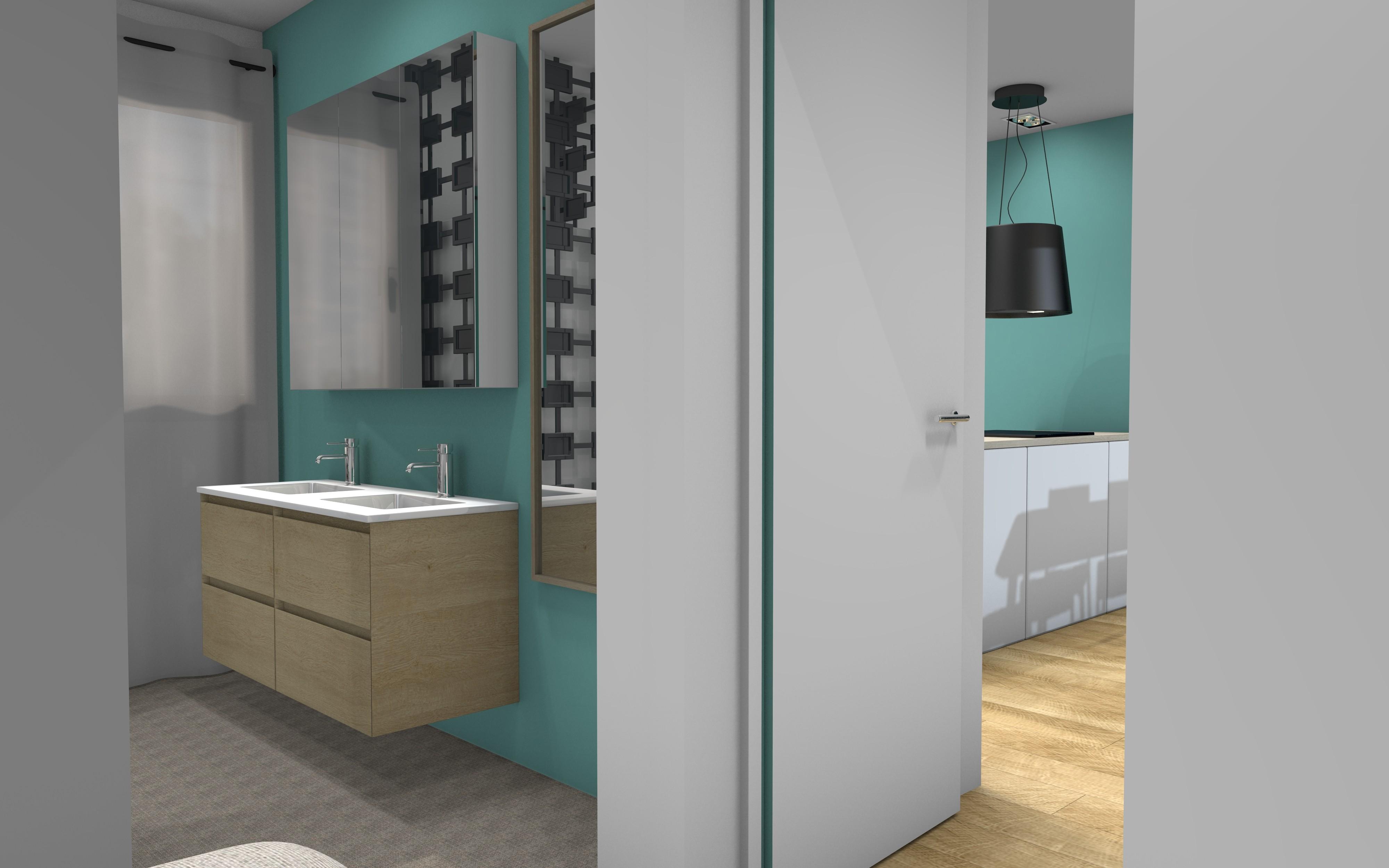 Royan salle de bains bois et vert