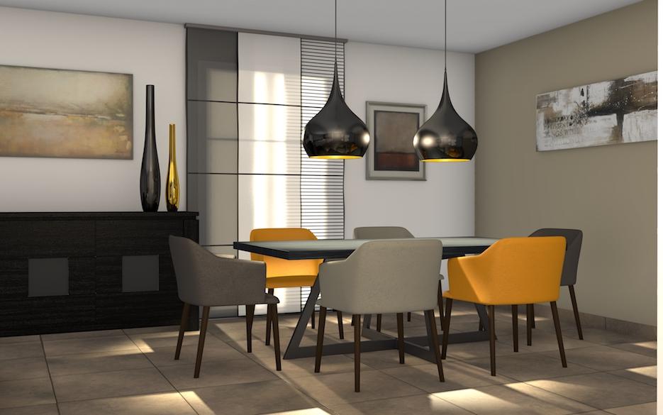 salle à manger chaise jaune