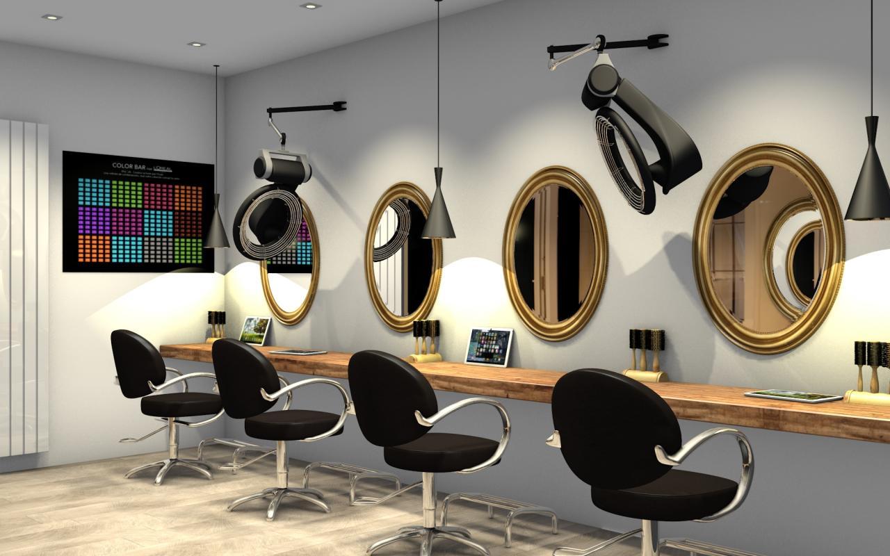 Salon de coiffure chic et moderne: zone technique