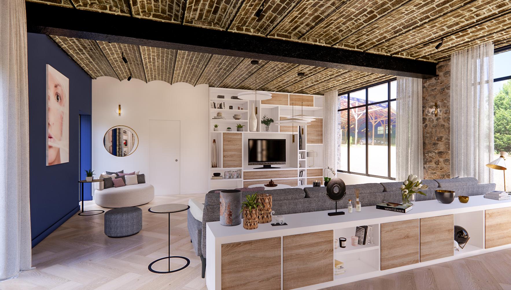Salon avec plafond voute