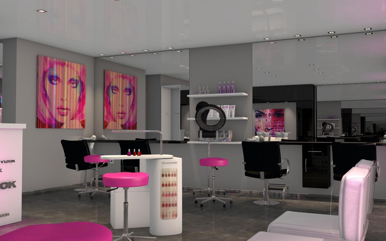 Salon de coiffure moderne, touche de rose