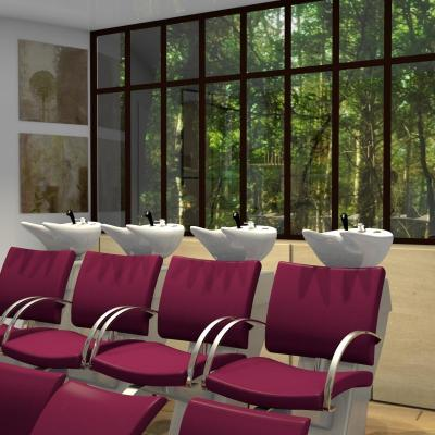 Aménagement d'un salon nature chic vert et prune