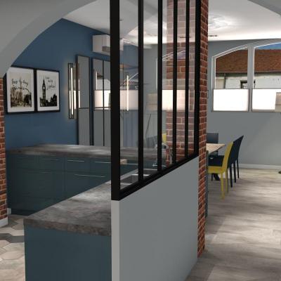 Cuisine ouverte avec verrière et mur brique sur séjour