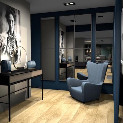 SejourCourtry-Une entrée bleue moderne et classe 1001 idées