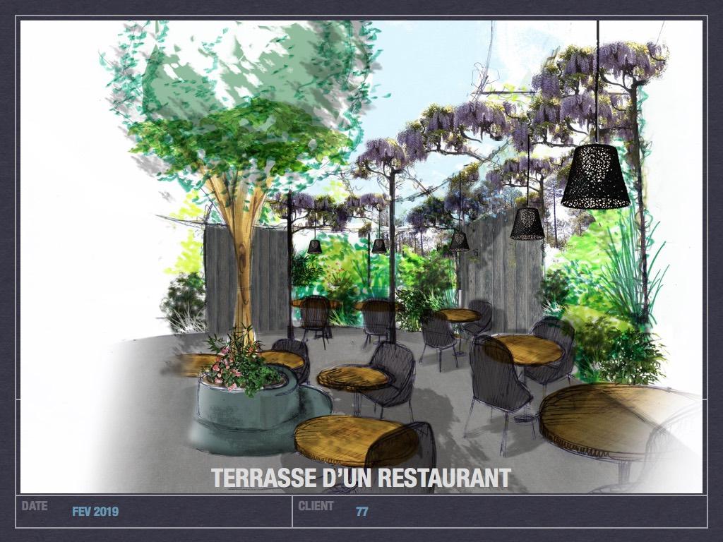 Terrasse d'un restaurant, paysagiste, idées de terasse, restaurant.001
