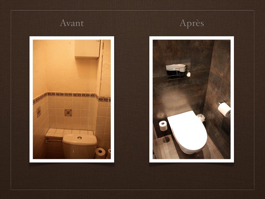 Toilettes avant après