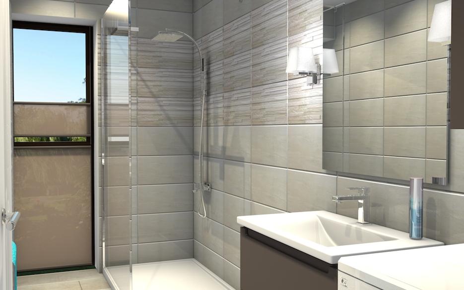 Salle de douche claire avec douche à l'italienne