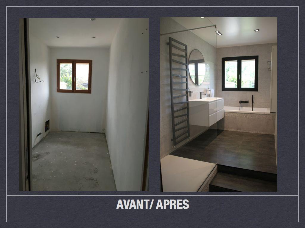 Salle De Bain En Longueur avant/ après: projet de décoration et d'aménagement d'espace